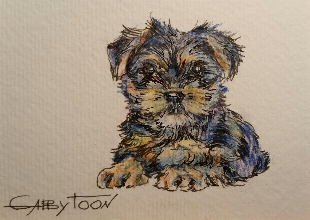 """A Puppy(ACEO)"" original fine art by Gabriella DeLamater"