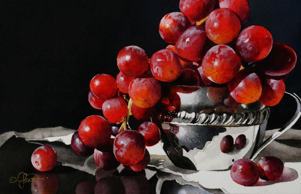 """""""Grapes & Silver Bowl Watercolor and New Video"""" original fine art by Jacqueline Gnott, whs"""