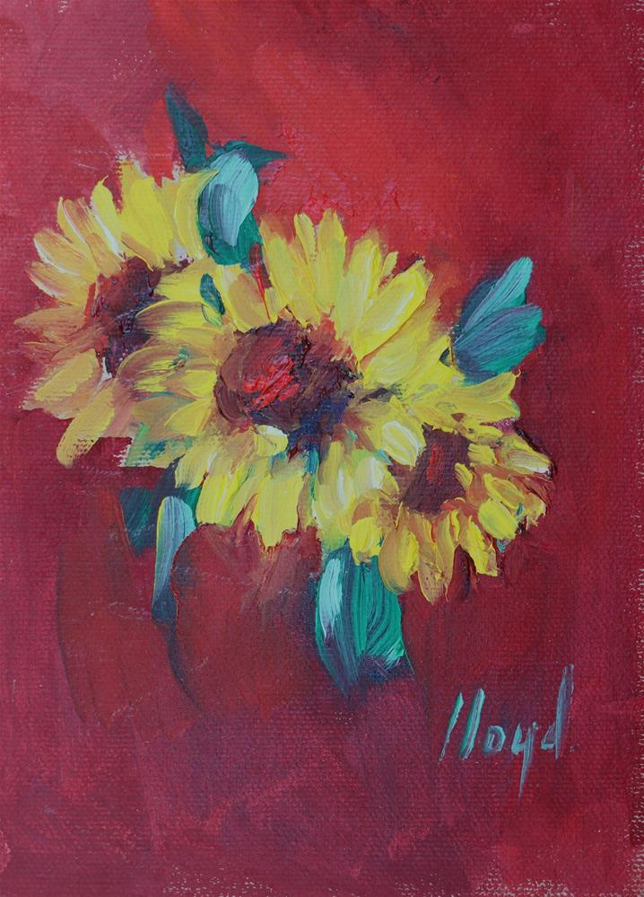 """Three Sunflowers"" original fine art by Diane Lloyd"