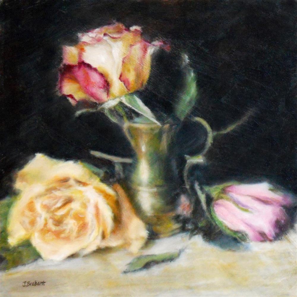 """""""Roses with a Brass Pot"""" original fine art by Jill Brabant"""