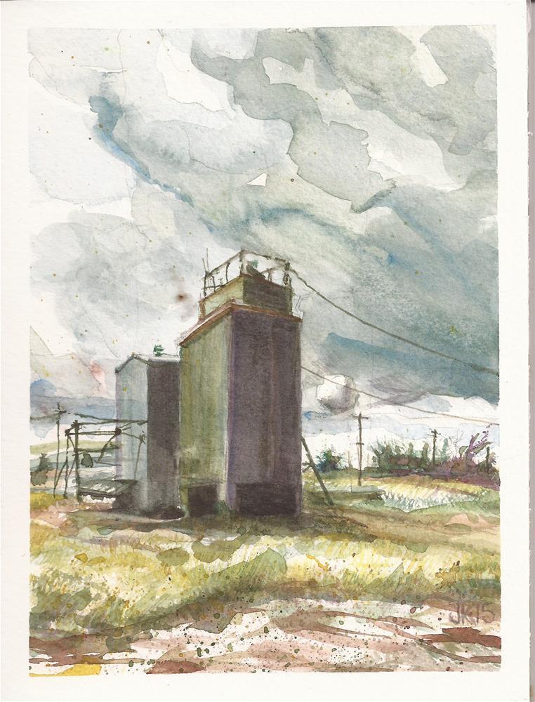 """""""Farm Building, Wheatland, WY"""" original fine art by Jean Krueger"""