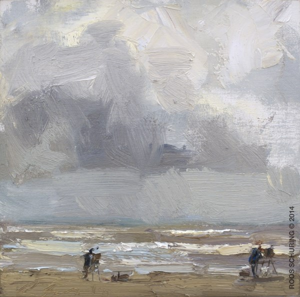 """SSU09-2014 Schuring Painters near the Shoreline"" original fine art by Roos Schuring"