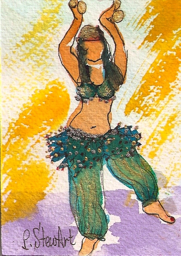 """ACEO Belly Dancer #8 Series - Watercolor and Pen, w/Metallic Accents, original"" original fine art by Penny Lee StewArt"