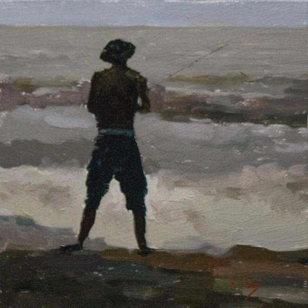 """Jetty Fishing 47th"" original fine art by Randall Cogburn"