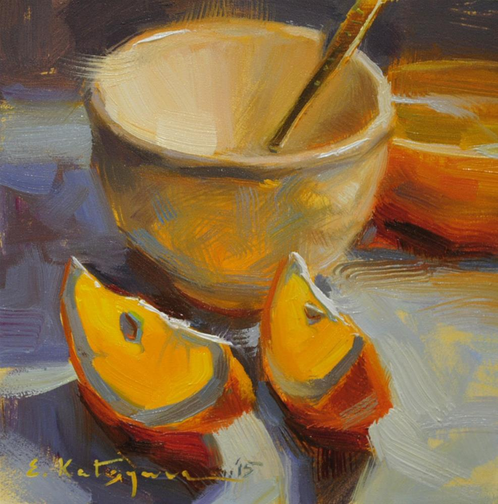 """Cup and Orange Slices"" original fine art by Elena Katsyura"