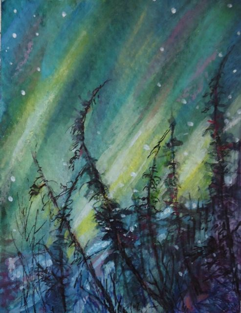 """Northern Lights Study 1"" original fine art by Jackie Irvine"