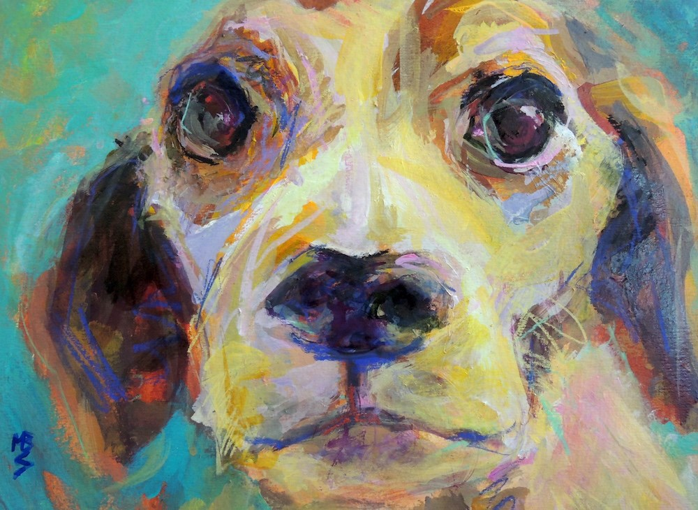 """Beagle Closeup"" original fine art by Mary Schiros"