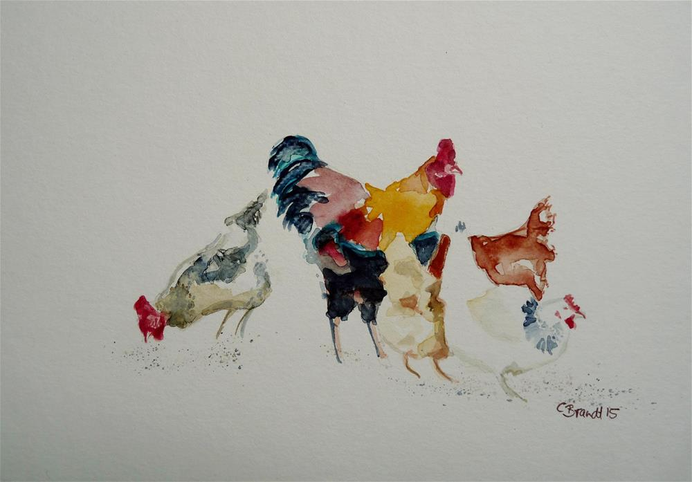 """chickens"" original fine art by Claudia Brandt"