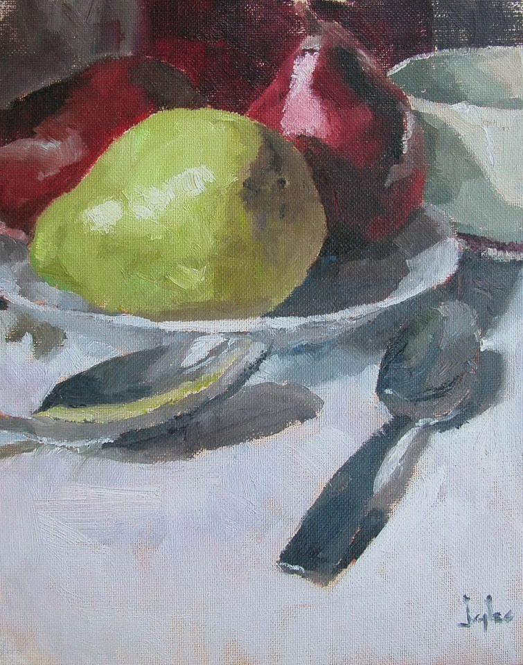 """Red and Green Pears"" original fine art by Richard Jones"