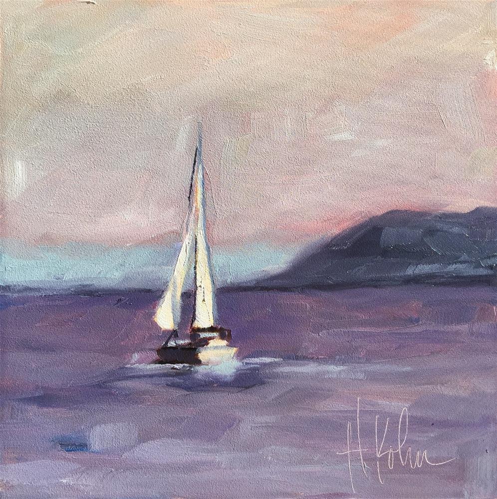 """Lake Pepin Boat 1"" original fine art by Hallie Kohn"