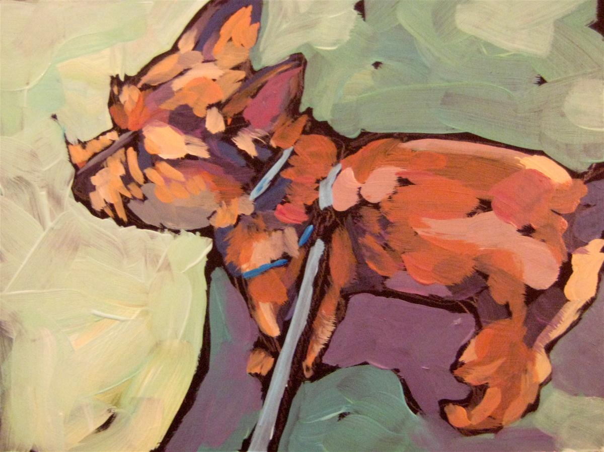 """Cairn Terrier on Blue Leash"" original fine art by Kat Corrigan"