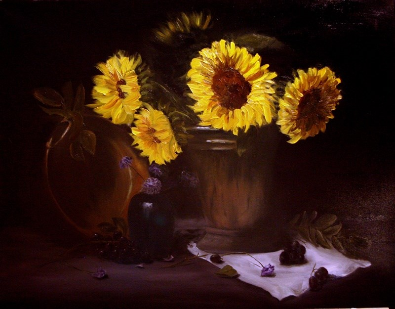 """Sunflowers"" original fine art by Mary Datum"