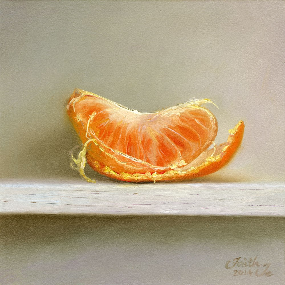 """Single Orange Segment on Peel"" original fine art by Faith Te"