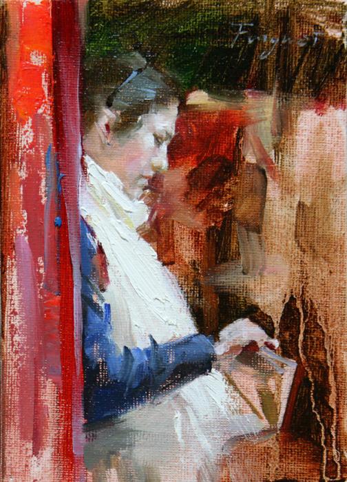 """""""Girl with white shawl"""" original fine art by Fongwei Liu"""