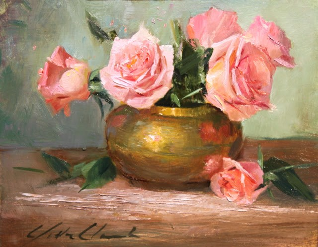"""""""Peach roses- Framed"""" original fine art by Justin Clements"""