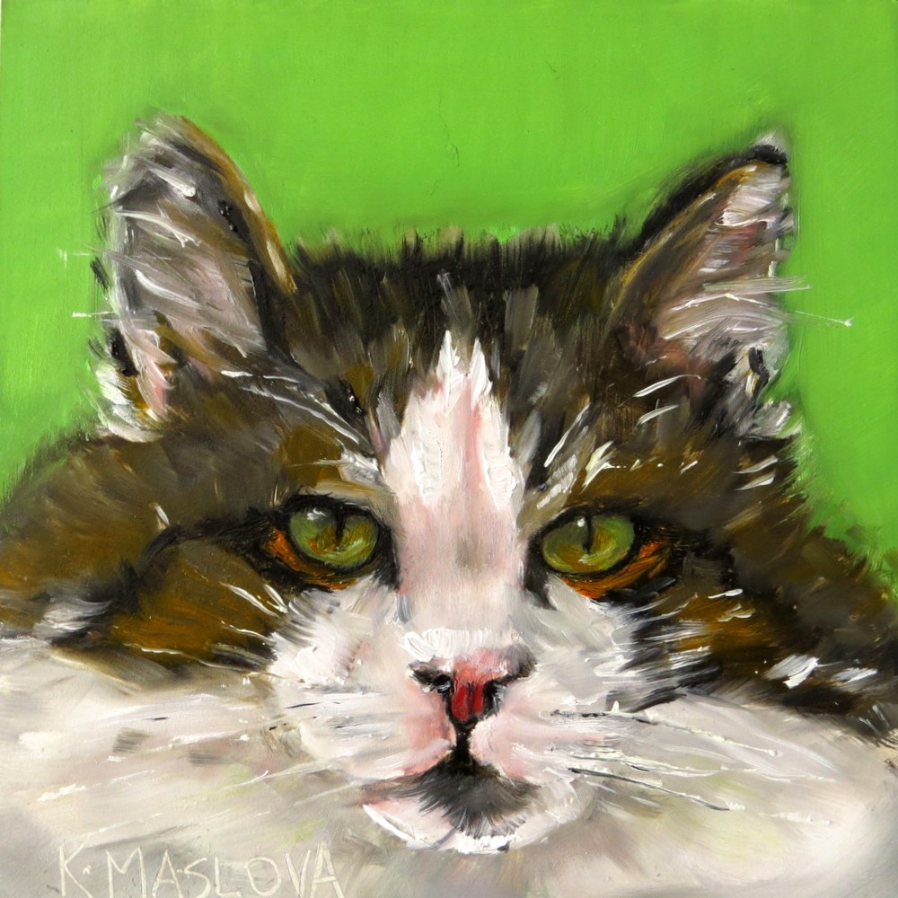 """Cat"" original fine art by Kulli Maslova"