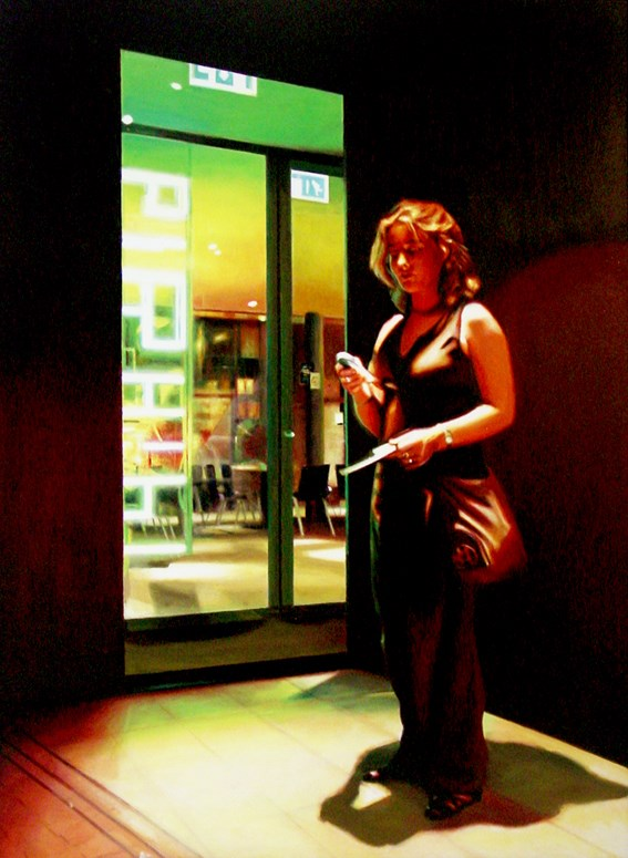 """Textmessage- Woman Sending A Text At Night"" original fine art by Gerard Boersma"