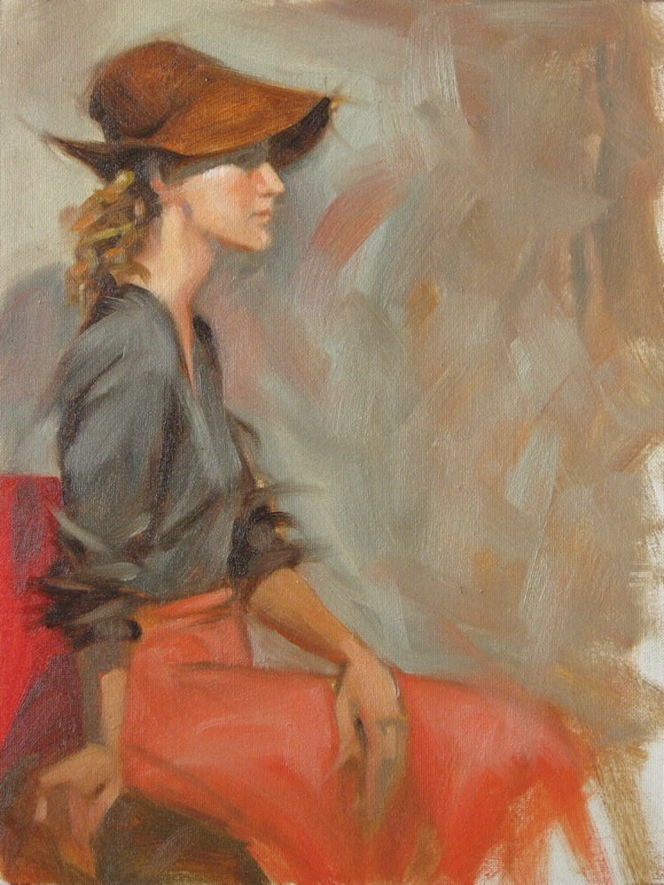 """Large hat 9x12 oil"" original fine art by Claudia Hammer"