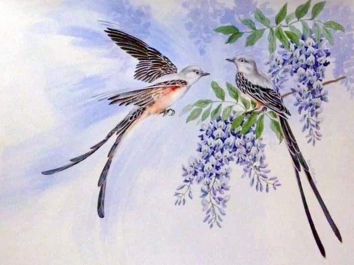 """Scissortail Flycatchers"" original fine art by Jean Pierre DeBernay"