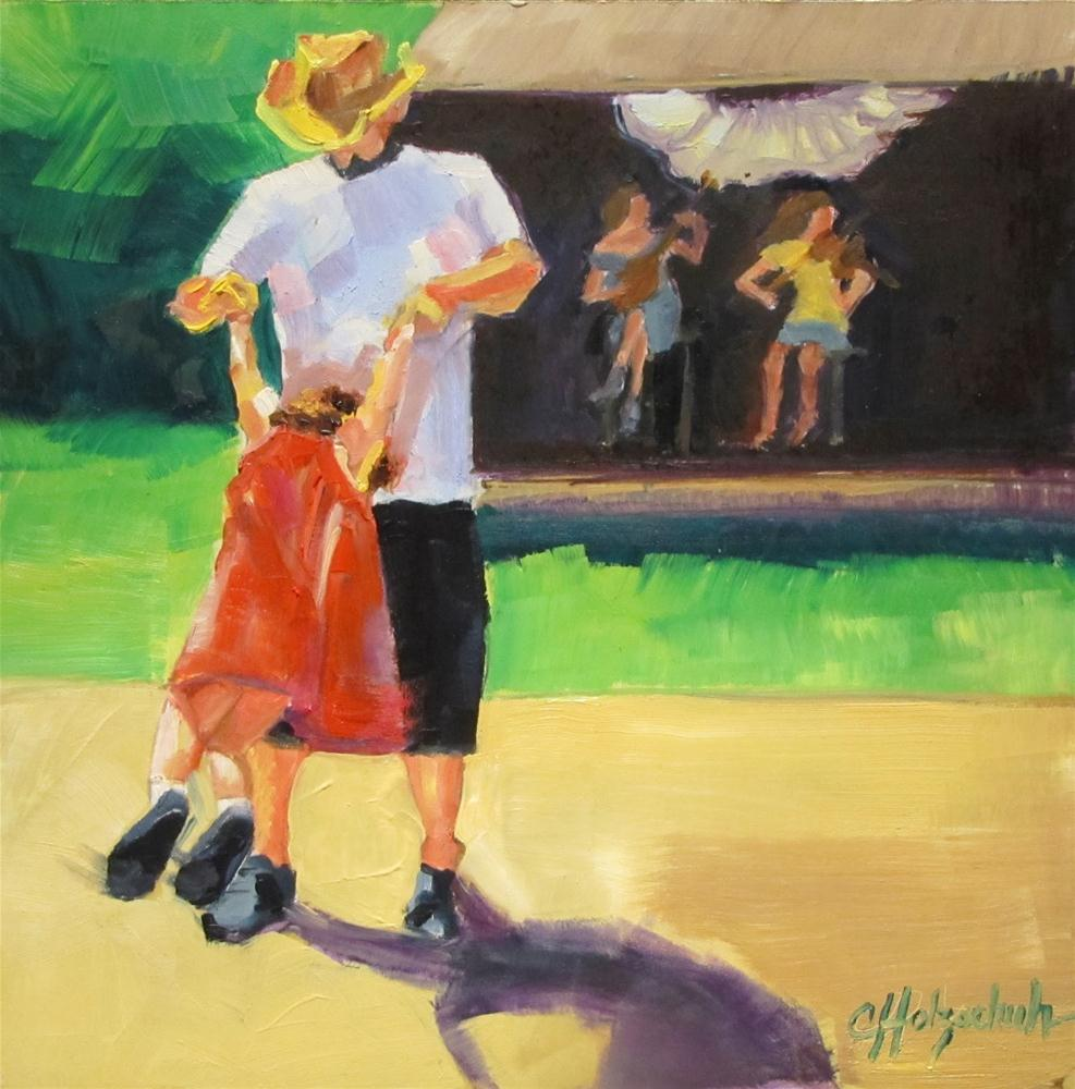 """Dance Me, Daddy   oil on panel 7x7"" original fine art by Christine Holzschuh"
