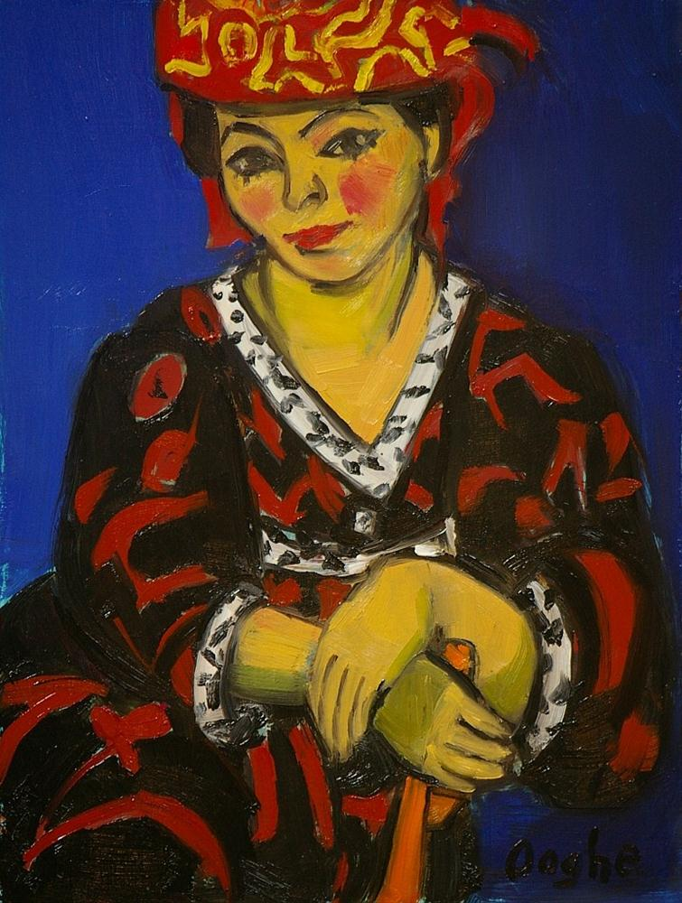 """After Matisse, The Red Maddress Headdress"" original fine art by Angela Ooghe"