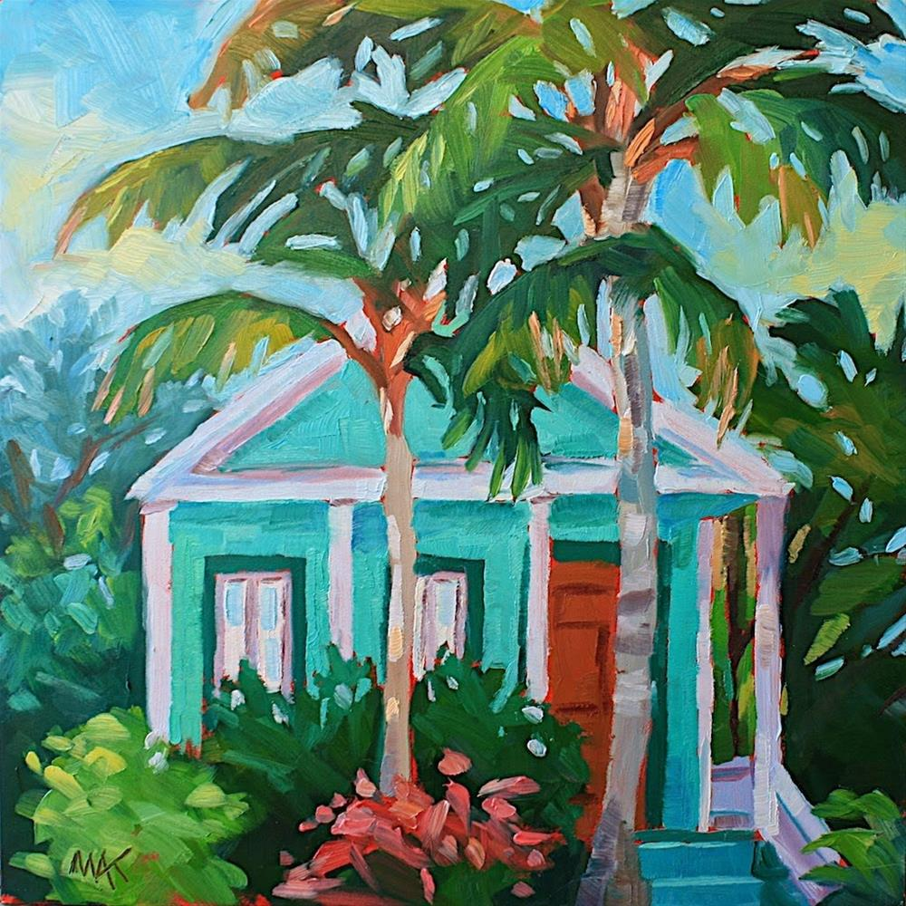 """Key West Green House"" original fine art by Mary Anne Cary"