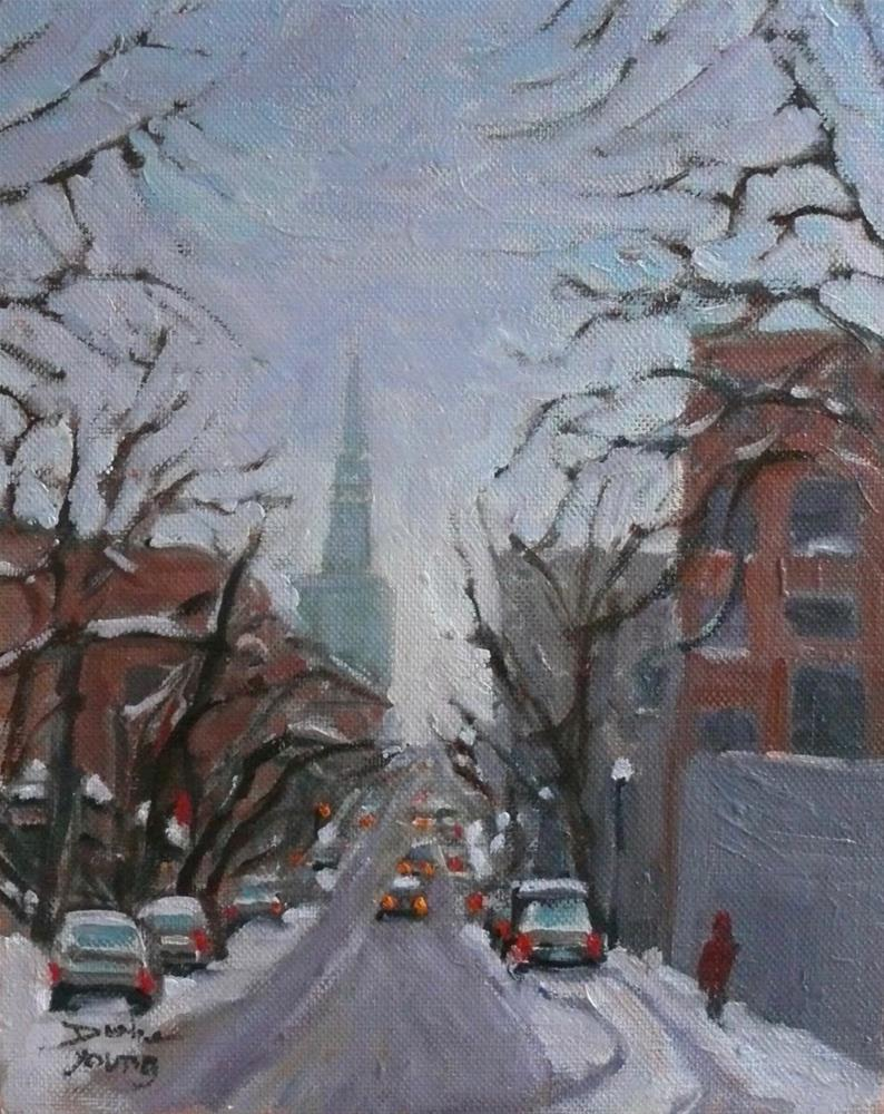 """894 Montreal Winter, rue St Denis, oil on board 8x10"" original fine art by Darlene Young"