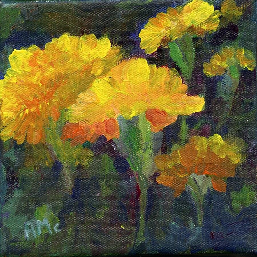 """My Marigolds"" original fine art by Arlayne McKee"