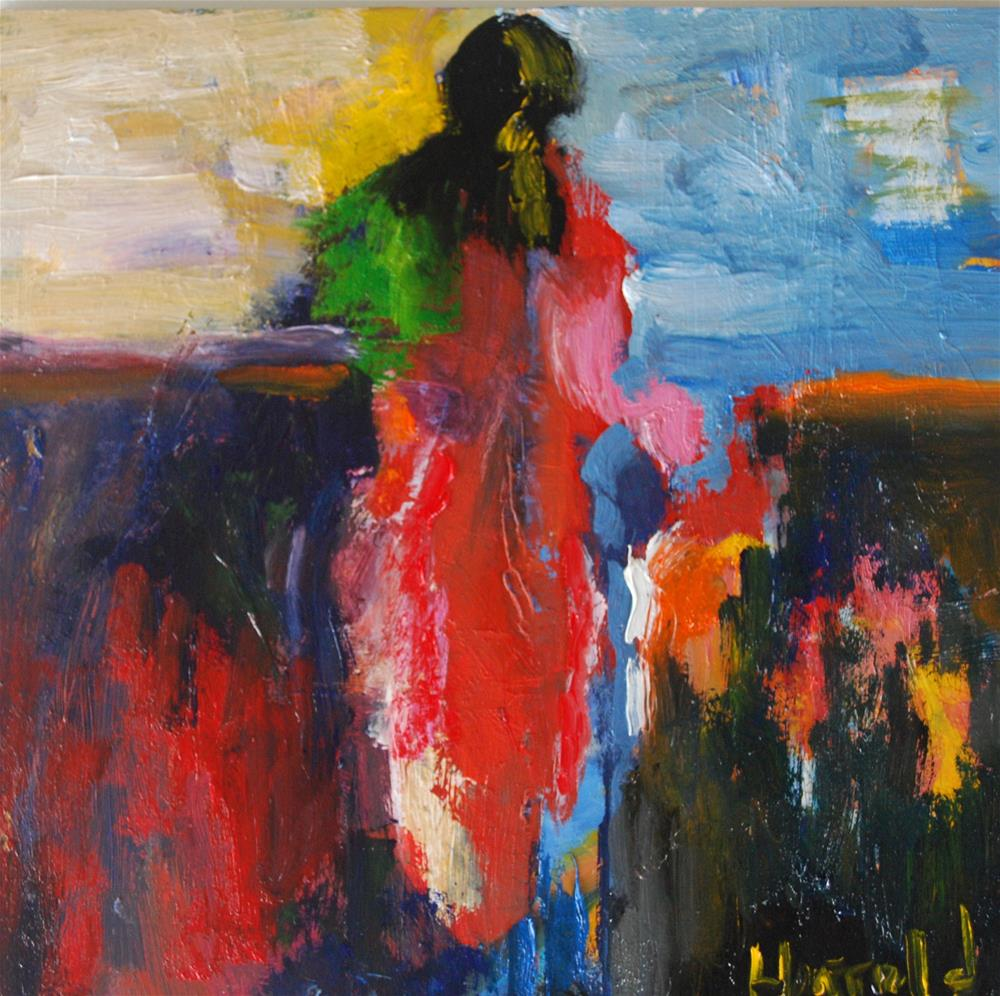 """Abstract Figure With Children"" original fine art by Deborah Harold"