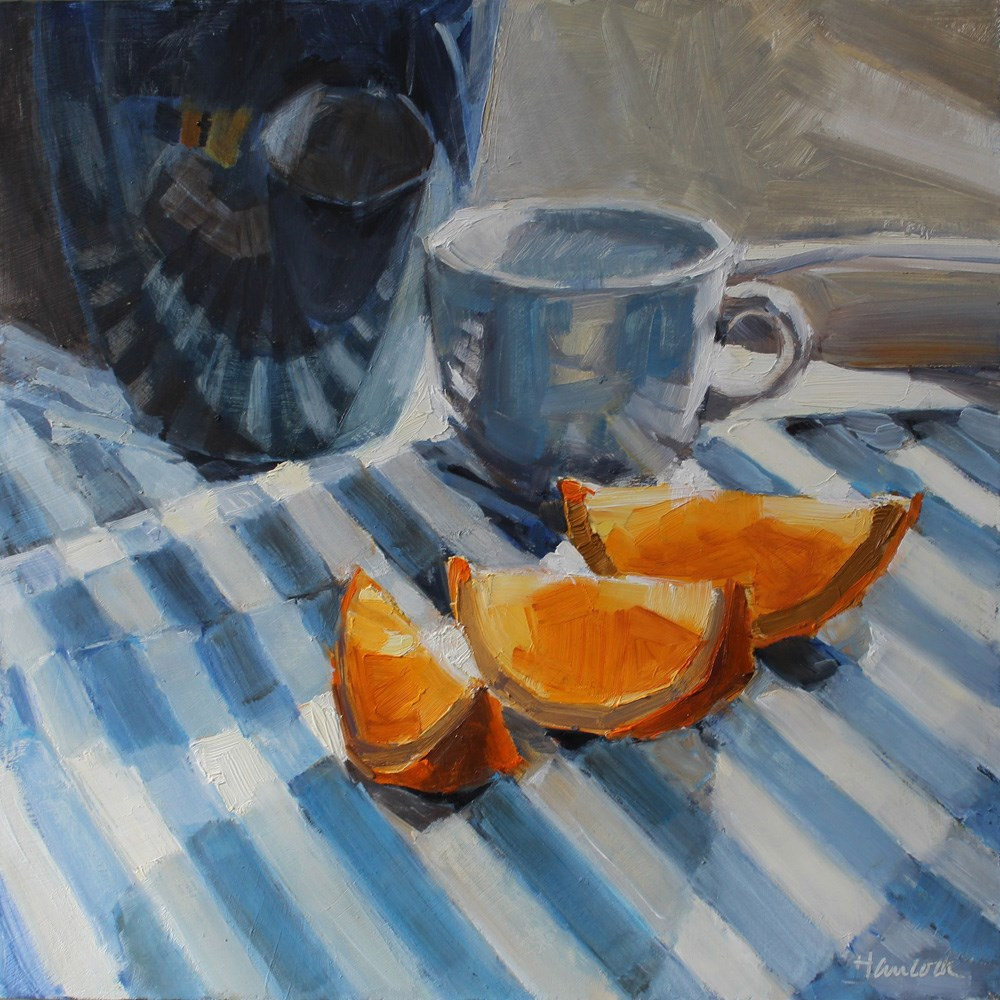 """Blue Striped Towel and Orange Slices"" original fine art by Gretchen Hancock"