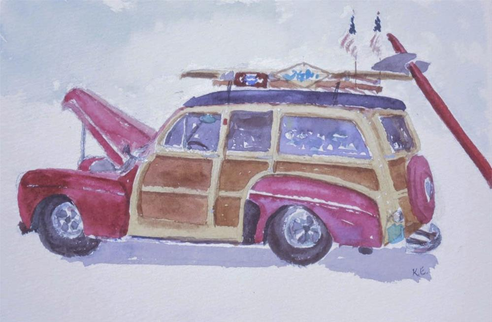 """Wavecrest Woodie Festival - Moonlight Beach"" original fine art by Katharine Engh"