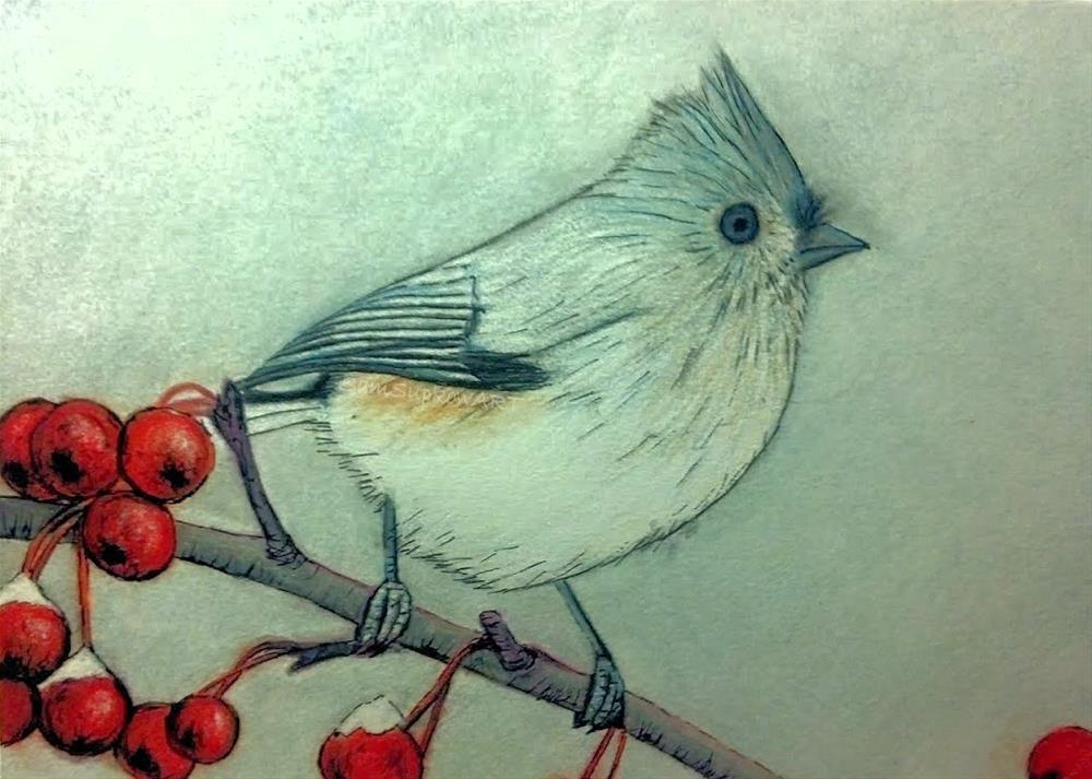 """Winter Songbird"" original fine art by Sam Supkow"