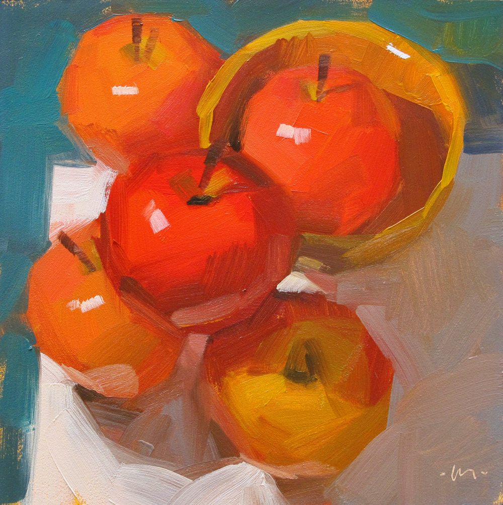 """Apple Accumulation"" original fine art by Carol Marine"