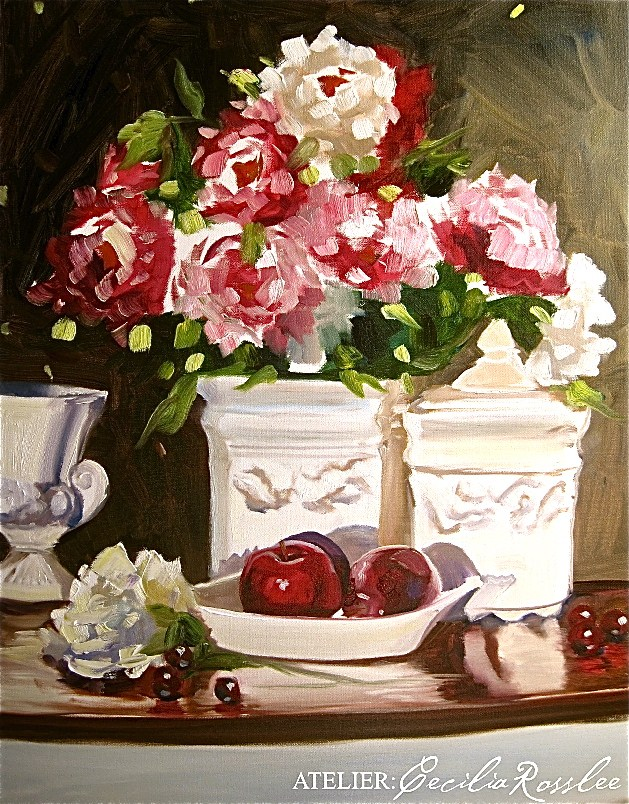 """AFTERNOON CHERRIES"" original fine art by Cecilia Rosslee"