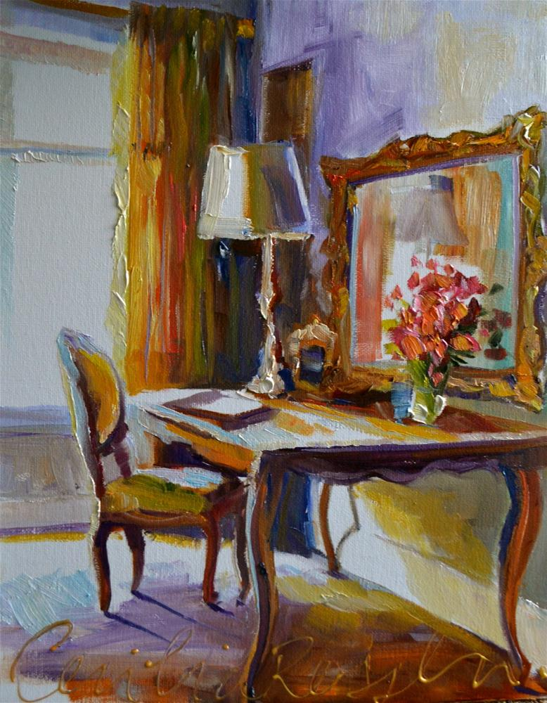 """WRITING DESK"" original fine art by Cecilia Rosslee"