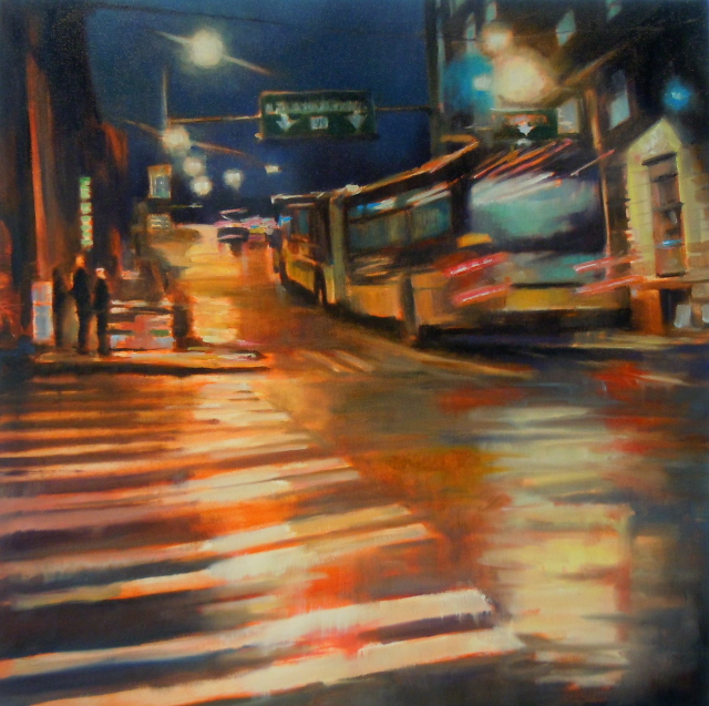 """City Bus  Seattle city scenes, urban oil painting"" original fine art by Robin Weiss"
