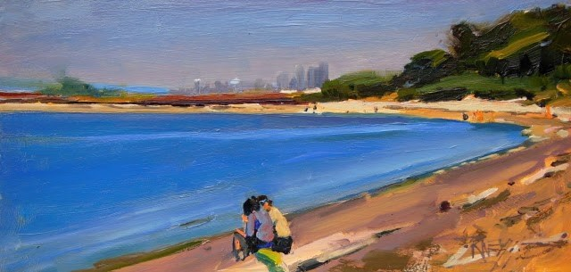 """Prichard Park Beach, plein air landscape painting by Robin Weiss"" original fine art by Robin Weiss"