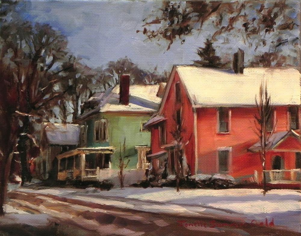 """""""Pink and Green Houses in the Snow"""" original fine art by Jonelle Summerfield"""