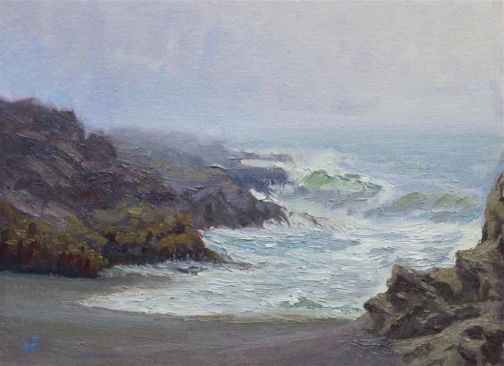 """Fog Along Wright's Beach"" original fine art by Wendy Franklin"