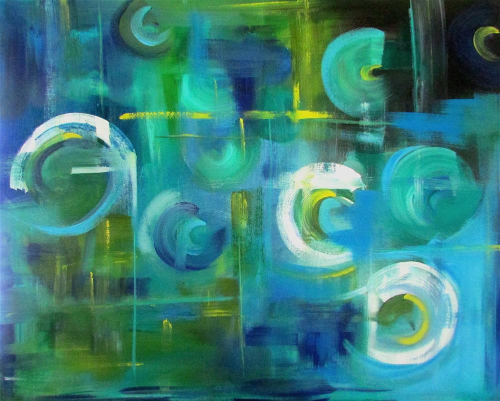 """24 x 30 inch acrylic Circles"" original fine art by Linda Yurgensen"