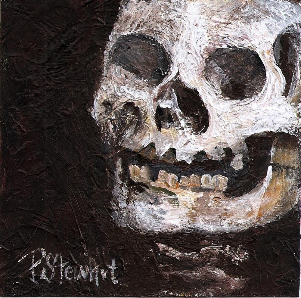"""5x5 Skeleton Head Skull Bones Halloween Day of the Dead Penny Lee StewArt"" original fine art by Penny Lee StewArt"