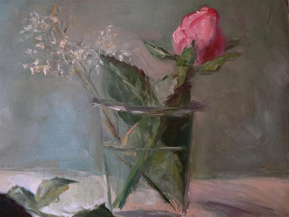 """Pink rose in glass vase"" original fine art by Carol Josefiak"