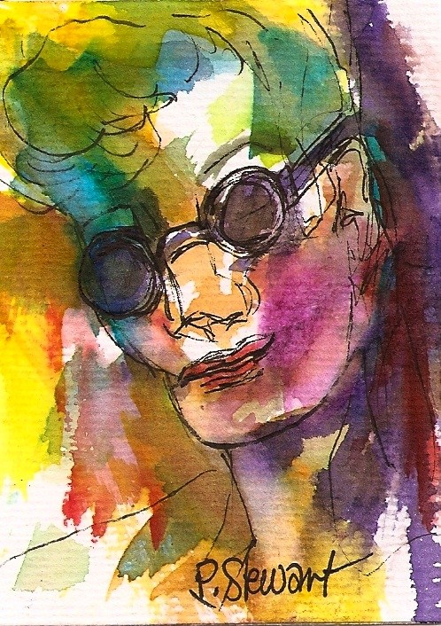 """Original ACEO: Incognito watercolor and pen, Portrait, abstract face"" original fine art by Penny Lee StewArt"