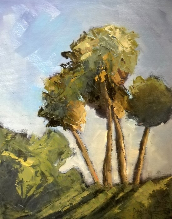 """Florida Landscape, Daily Painting, Sunlit Plams by Carol Schiff, 10x8x.75 Oil"" original fine art by Carol Schiff"