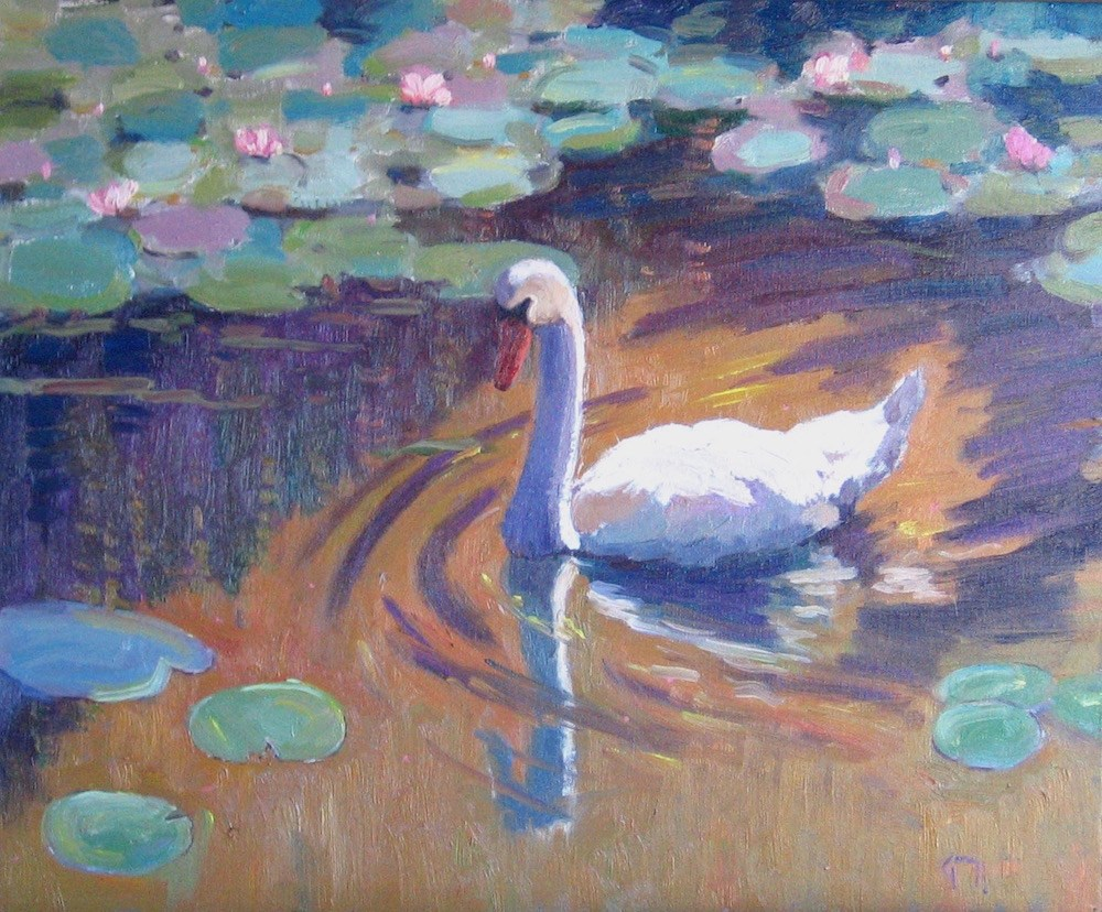 """Swan with Lilies"" original fine art by Doug Gorrell"