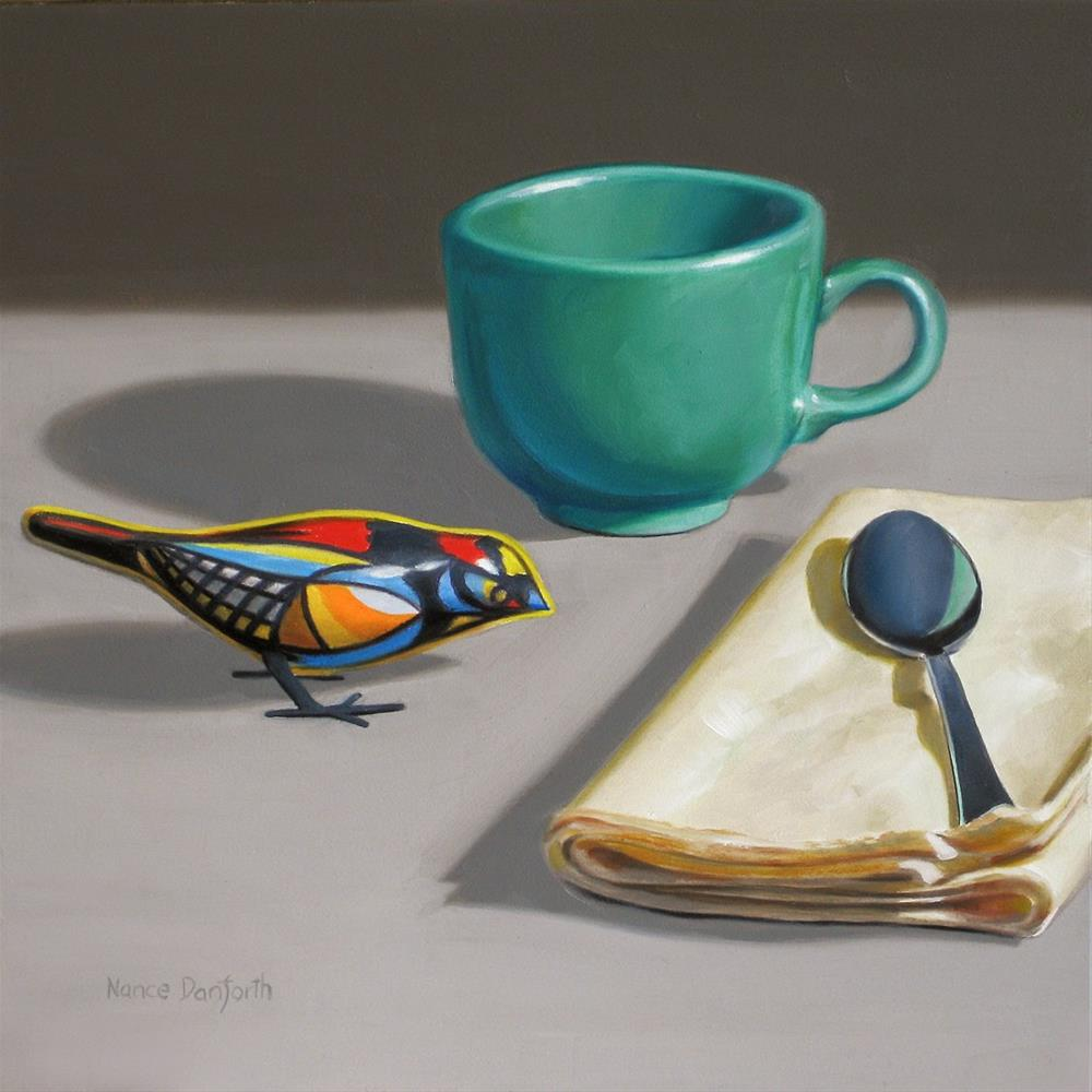 """Toy Bird with Teal Cup"" original fine art by Nance Danforth"