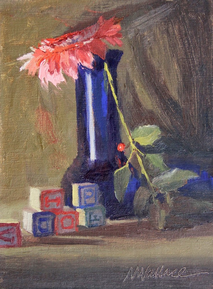 """""""Vase with a pink hat"""" original fine art by Nancy Wallace"""