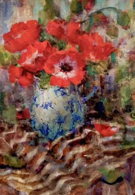"""Red Anemones and Stripes"" original fine art by Julie Ford Oliver"