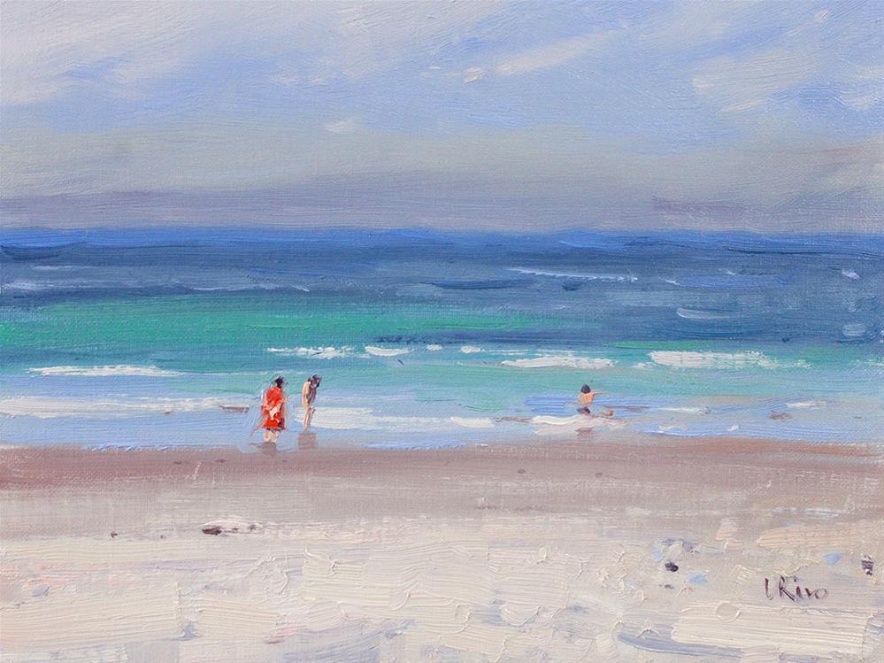 """Storm coming from the ocean - Costa da Caparica"" original fine art by Lena  Rivo"