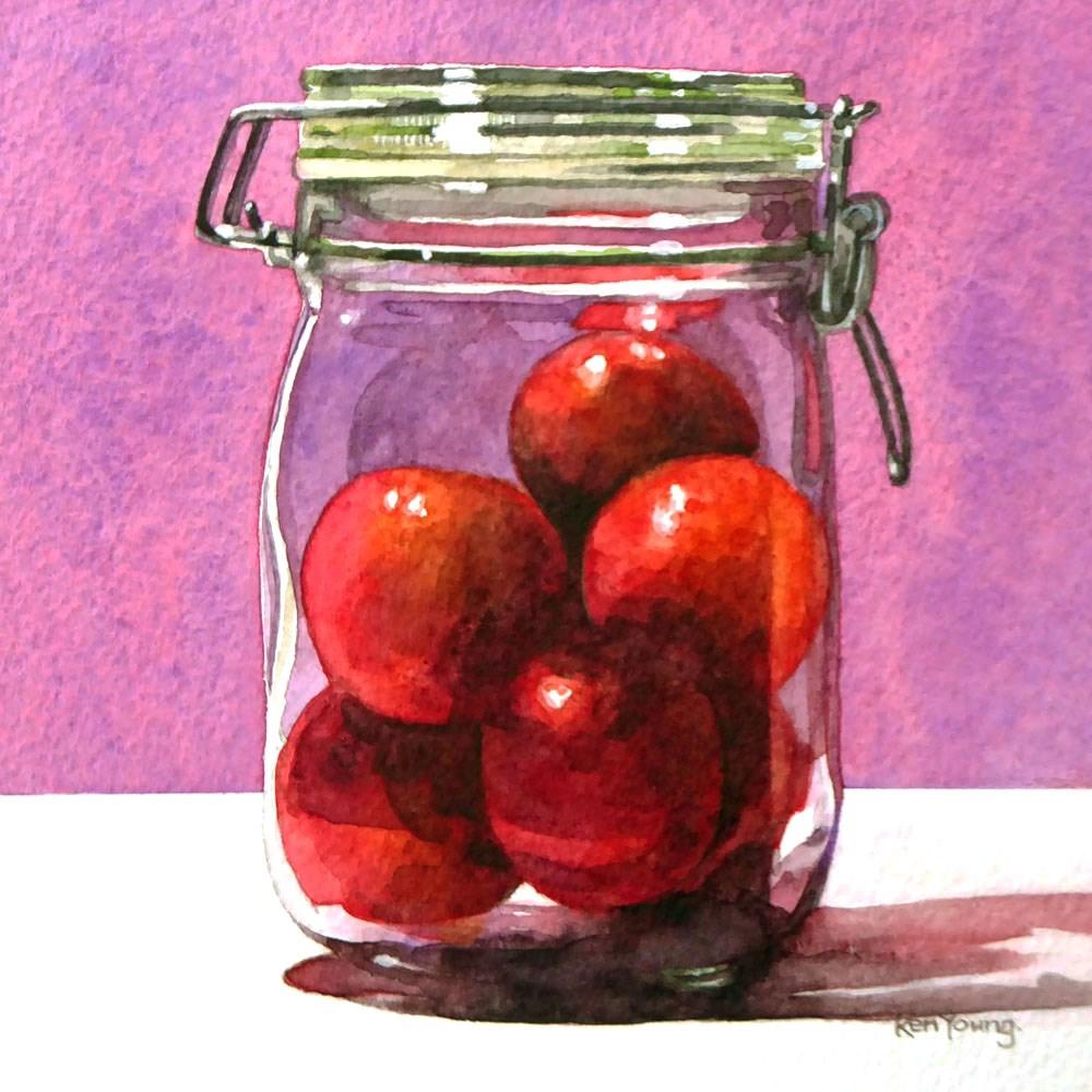 """Plums In A Jar"" original fine art by Ken Young"